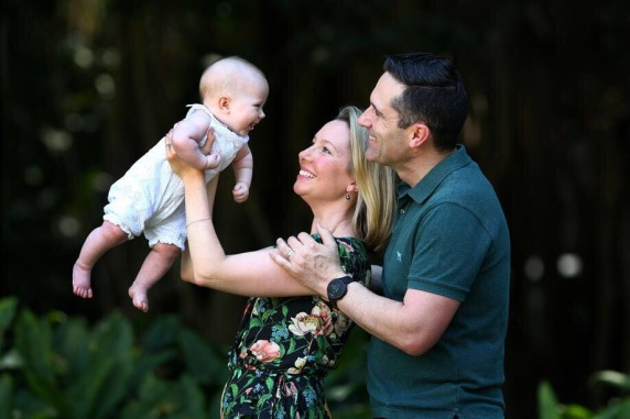 Lauren Martyn-Jones with her husband Matthew and their daughter Lillian.